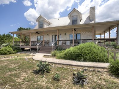 Photo for Charming Hill Country Home, Pool, Hot Tub, Game Room, Fire Pit, Close to Town
