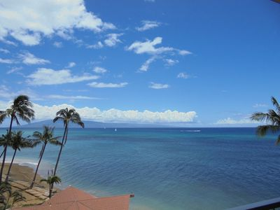 It's a beautiful ocean view from the Lanai of Royal Kahana 815.
