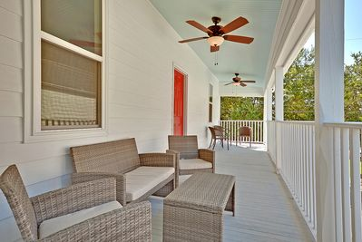 Upper Veranda - outdoor seating for 8. Enjoy the breeze with three outdoor fans.