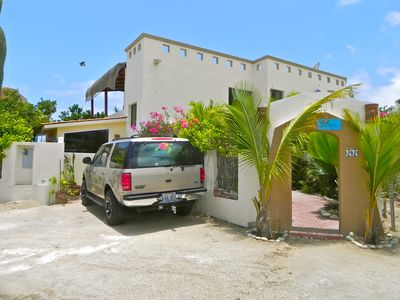 This is the front of the Villa and the SUV, which is also available to rent.