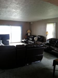 Sectional with recliners, and two additions couches with recliners.
