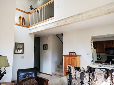 Vaulted ceilings provide space and light for a truly rejuvenating space.