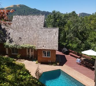 House with pool, hidden from road and neighbors, with Mt Baldy as backdrop.