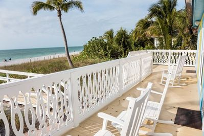 Beachfront deck keeps the sand off your toes!