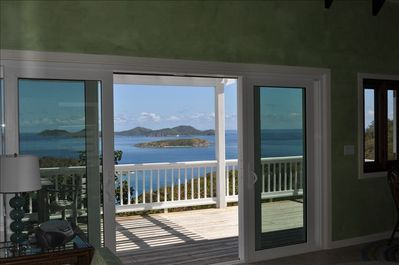 Living room slider doors provide cooling breezes day and night