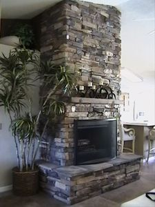 Stacked Stone Fireplace in Living Room