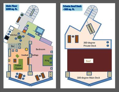 FLOORPLANS of both Levels, Main Floor & the only Roof Deck in a Terrasol Condo !