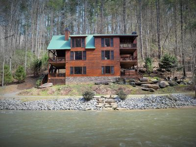 Photo for Waterfront Lodge- Trout Trap - Big Porches, Hot Tub, Pool Table, Relax in Style