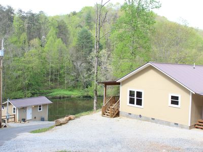 Photo for PRIVATE RIVERFRONT 3 bed/2 bath house on the Oconaluftee River! PRIVATE DOCK!
