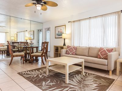 Photo for beach chic two bedroom unit located across the street from the beach