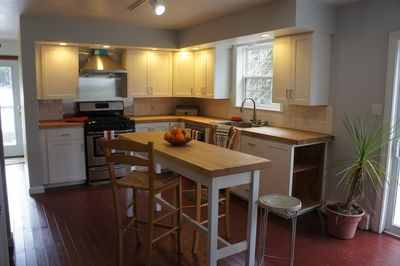New kitchen; gas stove, dishwasher, modern appliances. Fully equipped for eight. Grill and lobster cooker on deck. Washer/dryer down hall.