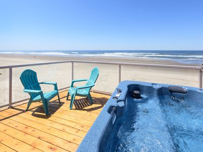 Photo for All New, Gorgeous Beachfront, Onsite Beach, Fireplace&Hot Tub (Former: Seashell)