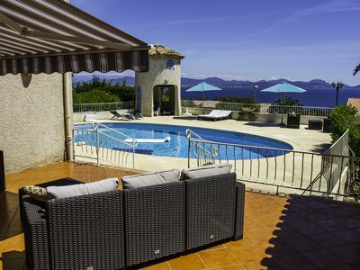 Photo for Villa + outbuildings + private pool with magnificent sea and Esterel view