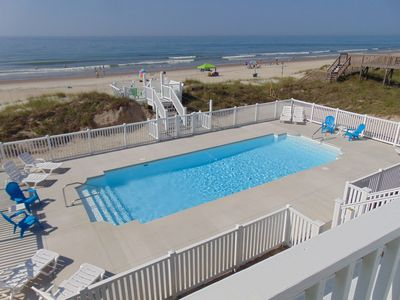 OCEANFRONT WITH LARGEST POOL ON EMERALD ISLE, FREE POOL HEAT. LOWEST $