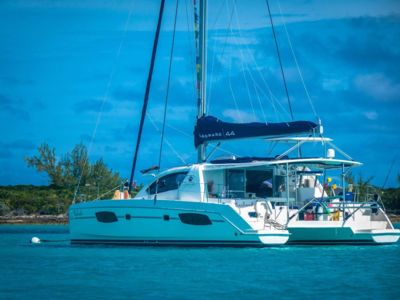 Luxury Catamaran in Exuma, docked inside Emerald Bay Marina (a Sandals resort).