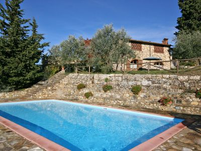 Photo for Apartment with WIFI, pool, A/C, TV, pets allowed, panoramic view, parking, close to Greve In Chianti