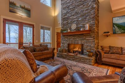 Huge Stacked Stone Gas Log Fireplace in Great Room