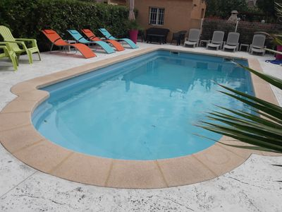 Photo for MARSEILLAN PLAGE: VILLA SOLEIL and its swimming pool, 10 sleeps in 5'de la Mer