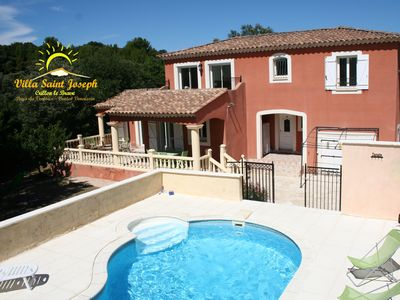 Photo for Air-conditioned villa at the foot of Ventoux with heated pool and studio