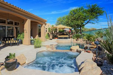 Pool - Welcome to Scottsdale! Enjoy endless views from this salt water pool with attached hot tub.