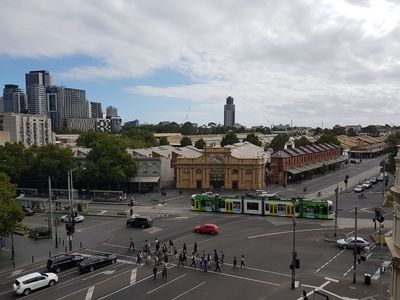 View from the balcony over Queen Victoria Market