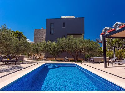 Photo for Villa Topaz with heated pool, 5 bedrooms, jacuzzi, sauna, gym, sandy beach 90m