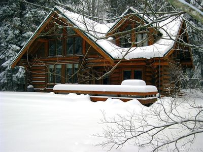 Photo for Spacious luxury Log Cabin close to skiing on secluded river frontage lot!