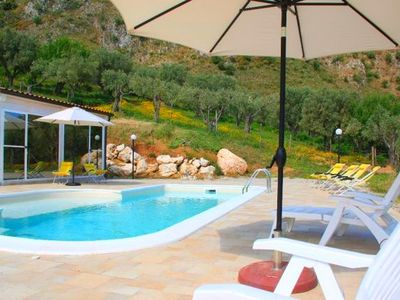 Photo for Organic farmhouse with private pool and Spa with view of the Aeolian Islands