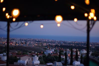 A twilight view from the terrace of Paphos & surrounding area