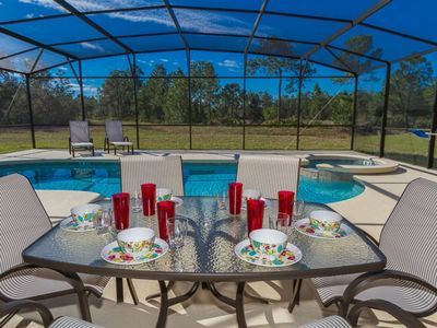 Photo for Luxury Villa, South West Facing Pool/Spa For All Day Sunshine! Near Disney