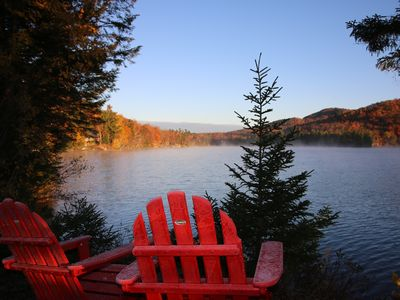 Photo for Secluded lakefront cottage with beautiful lake & mountain views on Loon Lake