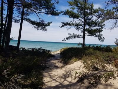 MINUTES FROM MACKINAW: LAKE HURON LAKEFRONT COTTAGE W/ GORGEOUS, WALK-ABLE BEACH