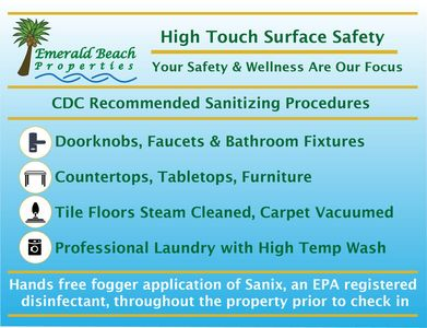 Your safety and well-being are very important to us so, we use CDC recommended sanitizing procedures in all properties prior to your arrival. Have a Safe & Happy Vacation!