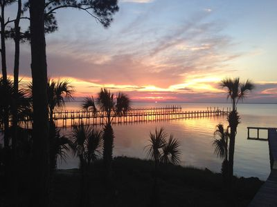 Sunset view of Apalachachicola Bay from front porch.