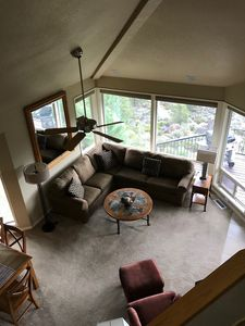 Photo for Deschutes River view from private deck with hot tub & close to Bend activities