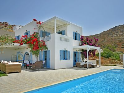 Photo for SUPERIOR MIKRI VIGLA VILLA WITH POOL & FANTASTIC VIEWS,400m FROM AMAZING BEACHES