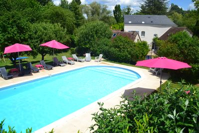 Relax in the superb large heated pool