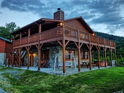 Photo for This secluded log home is perched high above Cherokee.