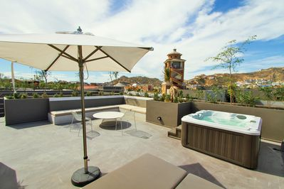 Jacuzzi En El Patio.Luxury 1br Residence Private Roof Top Jacuzzi Steps From Marina Cabo El Medano Ejidal