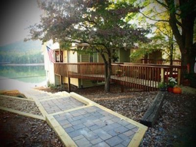 Easy access walkways to front entry and lake dock.