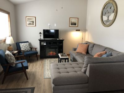 Living room, satellite TV, Electric Fireplace