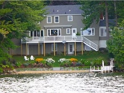 Photo for Lake Winnisquam Private Sandy Beach Front, Mtn Views, Large Cove