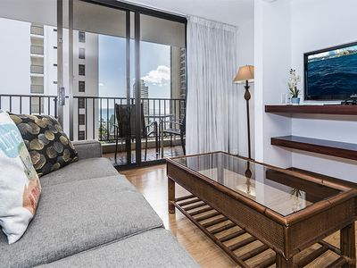Photo for Waikiki Beach Retreat, 1BR Condo with Ocean Views, Parking, and Full Kitchen