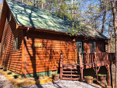 Photo for Gorgeous Cabin with hot tub, firepit, outside tv and only 3 miles from Helen