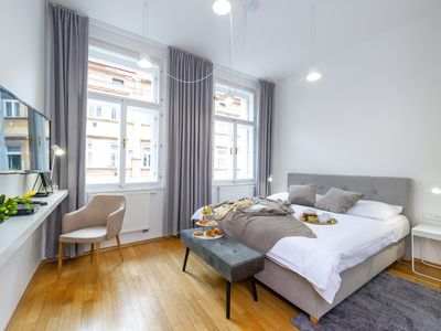 Photo for Deluxe apartment with 2 bedrooms at park with the best Prague Castle view