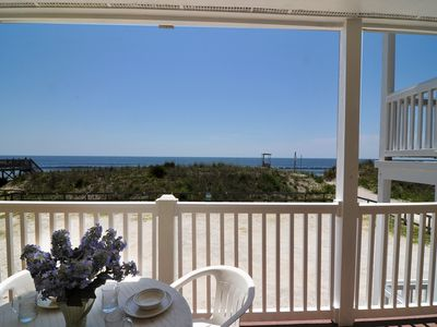 Enjoy morning coffee or evening cocktails on the oceanfront deck.