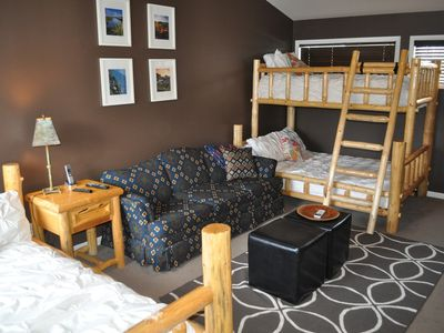 Upstairs bedroom with a double bed and double/twin bed with a private bath.