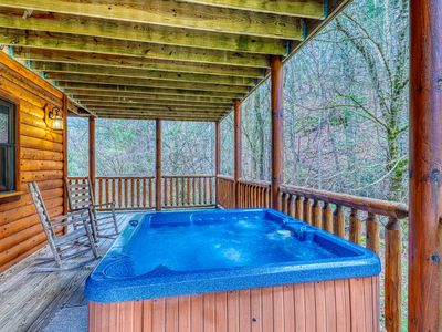 Photo for Charming cabin w/ private hot tub, pool table, theater - close to town!