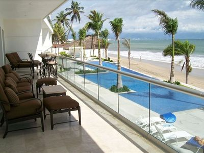 Photo for Bucerias, Beach Front, 3 BR, Direct Access to Pool & Beach