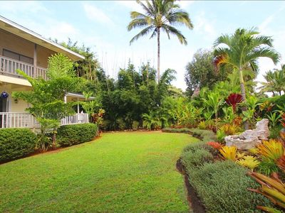 Beautiful Princeville home with nicely manicured lawn and gardens!